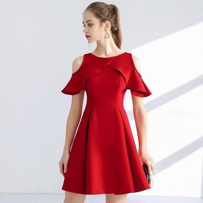 夏季時尚喂奶衣氣質紅色露肩荷葉邊哺乳連衣裙產后外出哺乳裝修身WY