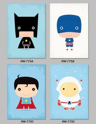 三幅一組油畫布 北歐兒童房卡通可愛人物 畫芯/畫布/30X40☺暖暖屋☺傢居藝術館