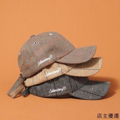 秋冬學生格子帽子女韓版百搭字母刺繡棒球帽男潮人文藝ins鴨舌帽