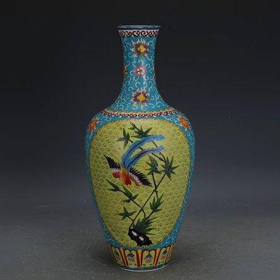 ㊣姥姥的寶藏㊣ 大清乾隆琺瑯彩掐絲花鳥紋美人尖瓶官窯回流  古瓷器古玩古董收藏