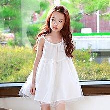 中大童 優質純棉 女童【Q寶童裝】夏款 DM-019 優雅網紗 吊帶裙 洋裝 連身裙