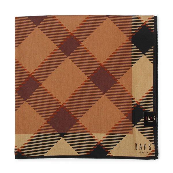 【姊只賣真貨】DAKS經典格紋100%純棉男用帕巾領巾手帕(咖啡色)父親節88節禮物