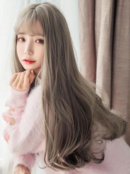 假髮女長捲髮大波浪髮套捲髮韓國空氣薄瀏海修臉逼真表演蓬鬆自然