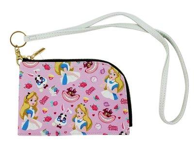【卡漫迷】 愛麗絲 滿版 手拿包 粉 ㊣版 萬用袋 手機袋 外出 護照 存摺 大開口 Alice 夢遊仙境 妙妙貓 頸繩