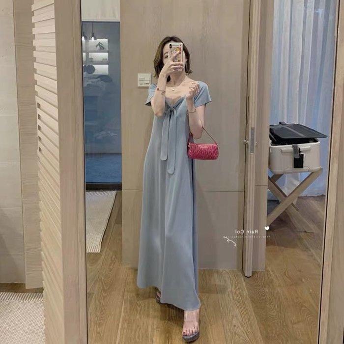 優雅法式修身顯瘦連身裙洋裝過膝長裙