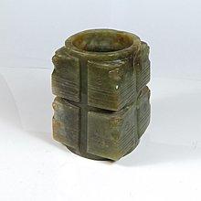 【古珍品】老件      和闐玉雕雷紋玉琮
