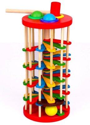 【晴晴百寶盒】創意彩色木製手敲球溜滑梯 手敲球檯 兒童玩具 寶寶 嬰幼兒 益智遊戲 玩具 生日禮物 平價促銷A190