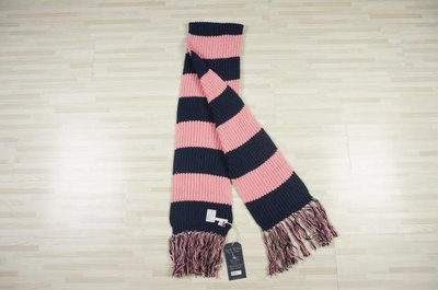 MISHIANA 英國品牌 JACK WILLS 羊毛材質經典款粉藍條圍巾 ( 特價出售 )