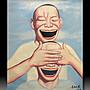 【 金王記拍寶網 】U782  九O年代當代亞洲藝術家 岳敏君款 手繪油畫一張 ~ 罕見 稀少 藝術無價~