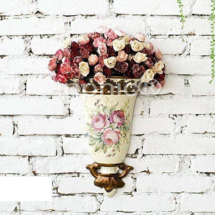INPHIC-9束茶玫歐式田園手繪壁掛花器仿真花套裝