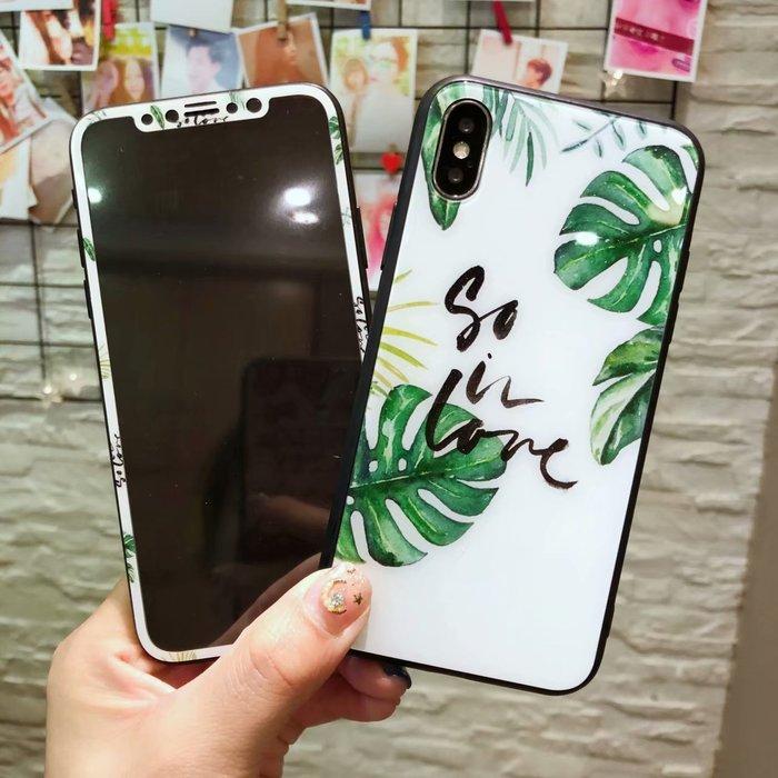 千夢貨鋪-蘋果iPhonex鋼化膜創意7plus彩膜6sp手機殼8plus小清新玻璃彩膜潮