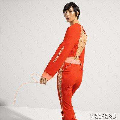【WEEKEND】 FENTY X PUMA Rihanna 背面挖空 綁帶 鬆緊 短版 衛衣 上衣 橘色 18春夏