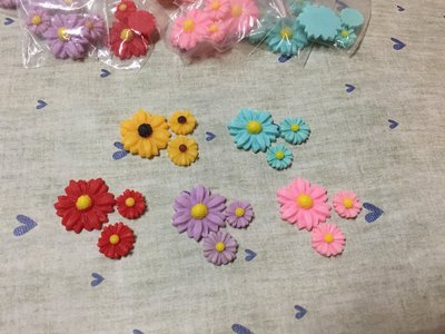 紅 黃 藍 紫 粉紅 波斯菊 花朵 造型DIY素材 袖珍小物 奶油殼 飾品材料 大中小3入素材包 (現貨)