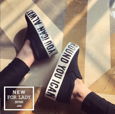 GOGO SHOP♥ GT0002 ♥ 韓國 最新款 明星同款英文字母 厚底帆布鞋  厚底增高鞋 單鞋學院風學生鞋