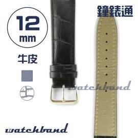 【鐘錶通】C1.10AA《霧面系列》鱷魚格紋-12mm 霧面黑┝手錶錶帶/皮帶/牛皮錶帶┥