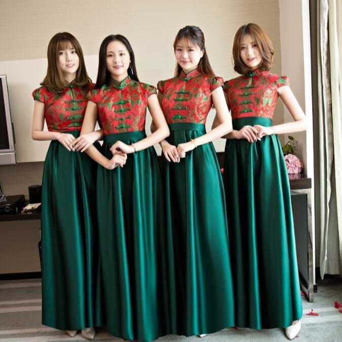 禮服 伴娘服 新款中式長款姐妹裙修身顯瘦結婚宴會新娘晚禮服大碼洋裝—莎芭