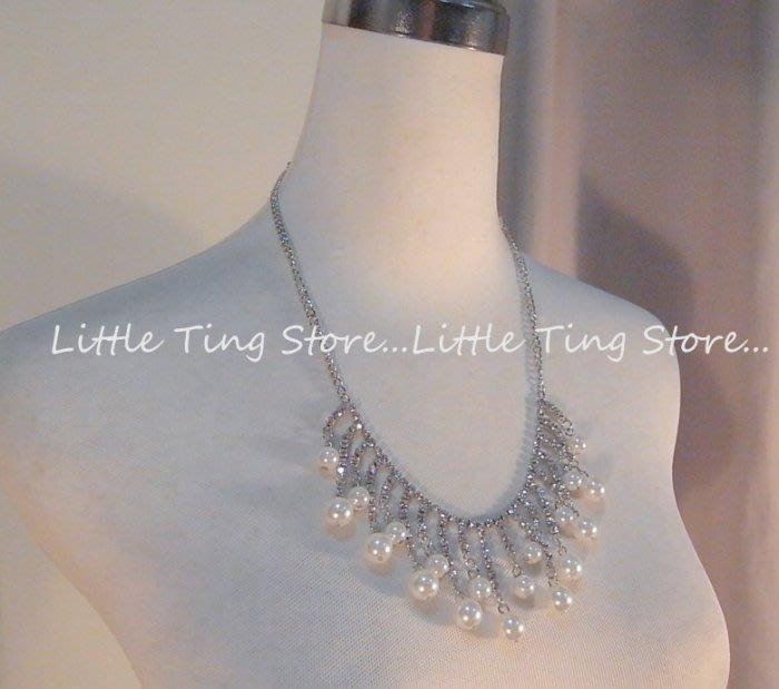 Little Ting Store:婚禮宴會適用新娘秘書 白底方塊爪鑽流蘇珍珠水鑽排鑽綴飾鎖骨鍊短項鍊