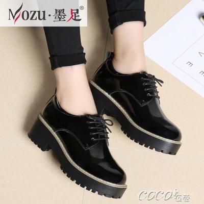 小皮鞋女 新款英倫風女鞋百搭小皮鞋女真皮黑色粗跟單鞋中跟休閒鞋