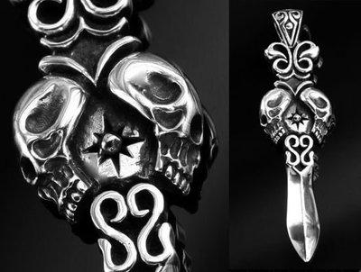 【創銀坊】骷髏 寶劍 925純銀 墜子 哈雷 騎士 龐克 刺青 西岸 海賊王 魔獸 克羅心 劍 刀 項鍊(P-2806)