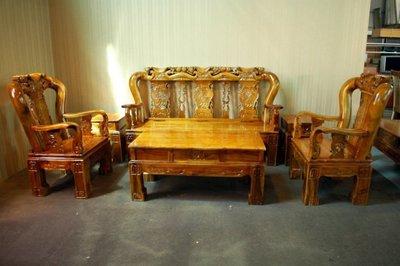 大台南冠均二手貨--全新仿古 自辦進口 戰國椅 木沙發椅組 實木沙發 1+1+3人座+1大2小茶几 6件式 *原木家具