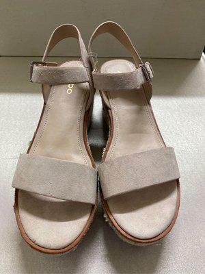ALDO雞皮革米色厚底涼鞋/波希米亞風/厚底涼鞋/涼鞋/奶茶色