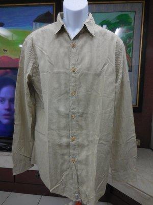 (二手)POLO JEANS 淺卡其 條紋 長袖襯衫(L)(B460)