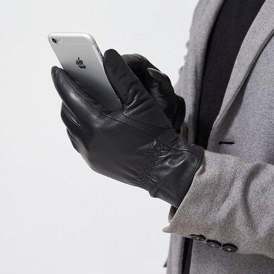 觸控手套 真皮手套-山羊皮加絨簡約黑色男女手套73wm33[獨家進口][米蘭精品]