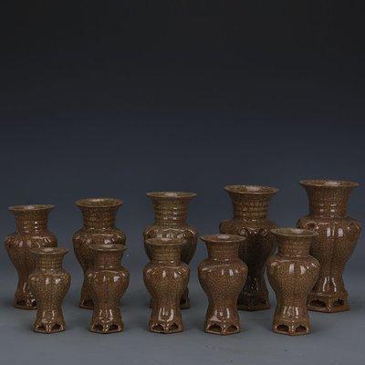 ㊣姥姥的寶藏㊣ 宋代哥窯金絲鐵線三羊尊十件套  出土古瓷器古玩古董收藏擺件