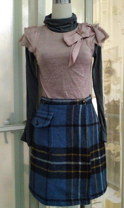 歐洲精品 RENA LANGE JEANS 格紋羊毛一片裙