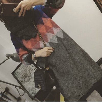 【Casi Cielo】韓國訂單 超溫柔可愛 復古幾何圖騰小高領長袖毛衣 連身裙(彩色現貨)對不起我愛你