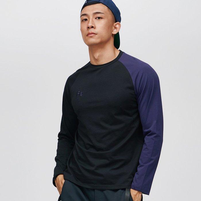 【OTOKO Men's Boutique】固制:長絨棉單袖拼色長袖/黑身紫袖(台灣獨家代理)