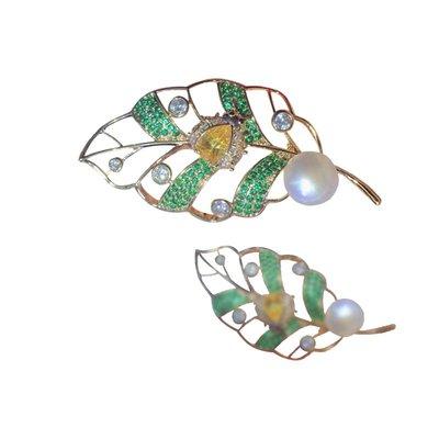 加恩歐美輕奢宮廷風時尚創意綠色樹葉胸針 外貿秋冬新款胸花衣飾12311
