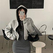 FQ3韓國專櫃拉鍊灰色連帽衛衣女裝秋季正韓寬松長袖開衫外套2021新款短款上衣