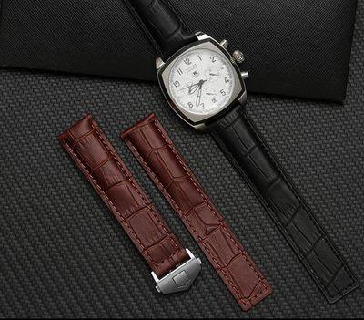 錶帶屋 適配泰格豪雅TAG Heuer 22mm 24mm鱷魚紋頭層牛皮咖啡 黑色按壓式摺疊扣錶帶 現貨