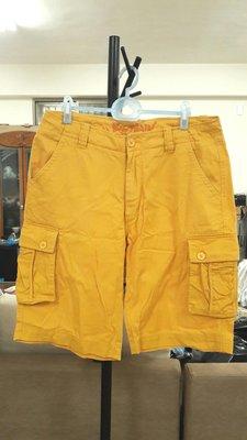 (二手)Big Train黃色寬版休閒抽繩短褲(W33)(適合34-35)(B085)