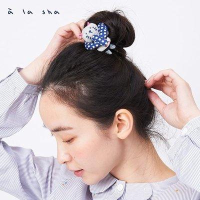 【無法三日內匯款者勿下標】a la sha Q咪貓合併分離兩用髮夾髮圈 藍(全新)
