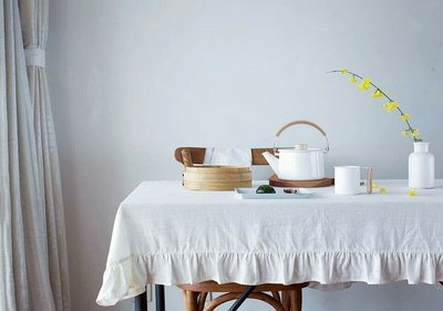 Mok歐洲復古田園鄉村風荷葉邊麻棉桌布 桌巾蓋布 米白色 135*135