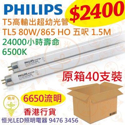 PHILIPS 飛利浦 高輸出超幼光管 16mm T5 HO 80W 6500K 五呎 1.5M 原箱40支 香港行貨