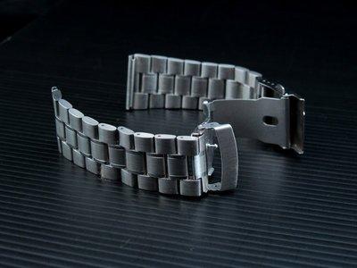 168錶帶配件 /超值亞米家sea master海馬風格,24mm 平頭實心不鏽鋼製錶帶,speed master單折雙