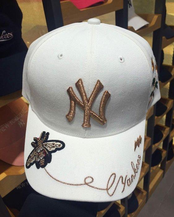MLB 紐約洋基隊 棒球帽 洋基帽【小蜜蜂刺繡版】白色現貨