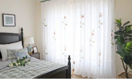 (一窗一世界)3進口韓式手繪紗簾成品定製客廳臥室飄窗紗簾(含加工一米紗價)