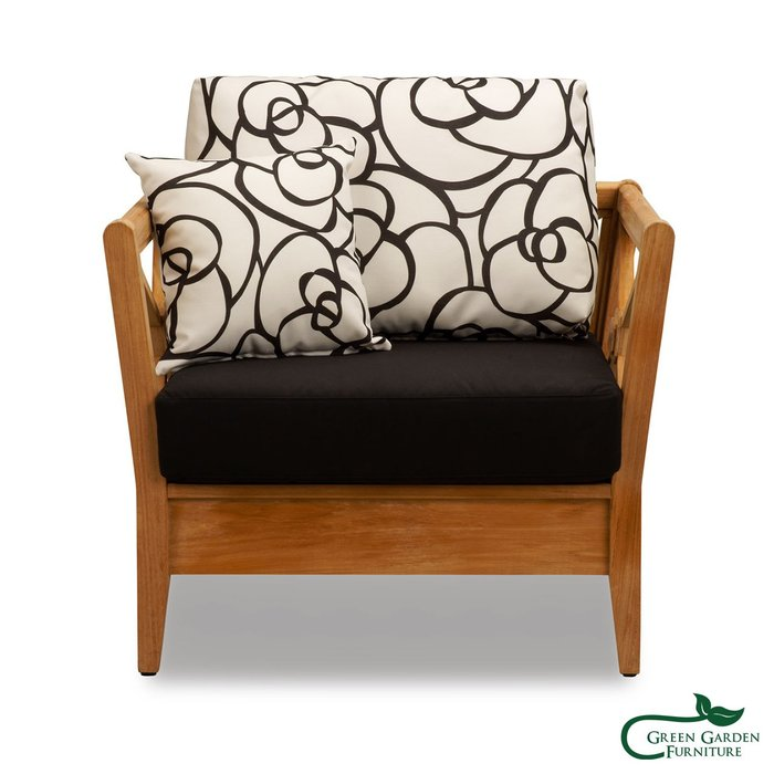 思可莉 柚木單人沙發椅(原色)【大綠地家具】100%印尼柚木實木/無上漆原木款/實木沙發