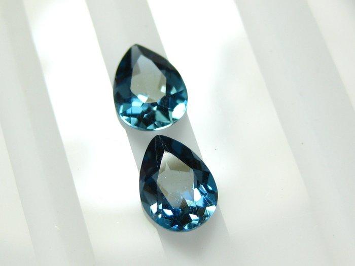 【Texture & Nobleness 低調與奢華】天然寶石 倫敦藍托帕石 拓帕石 成對共1.7克拉