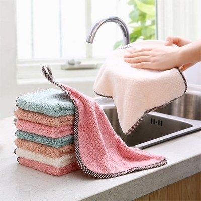 【創意蒐藏家】可掛式珊瑚絨雙面抹布 廚房菠蘿紋不掉毛吸水擦手巾 素色洗碗布