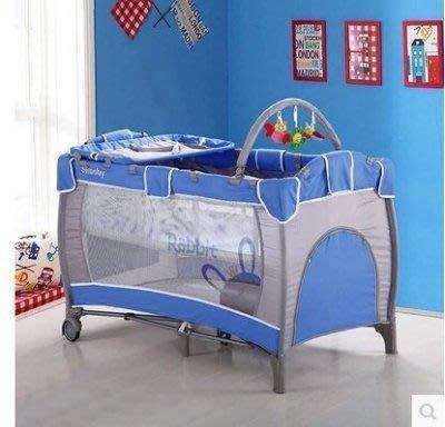 【易發生活館】新品 可折疊嬰兒床便攜寶寶床嬰兒遊戲床多功能童床鐵藝布藝BB床【藍灰色】