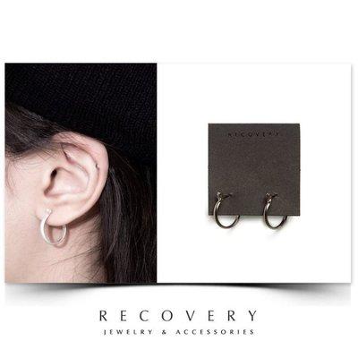 SCIENCE RECOVERY 2016 Arc C-type Earring 弧面C形耳環(黑銀/霧銀)
