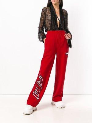 OFF-WHITE 紅色 棉質 高腰 運動長褲
