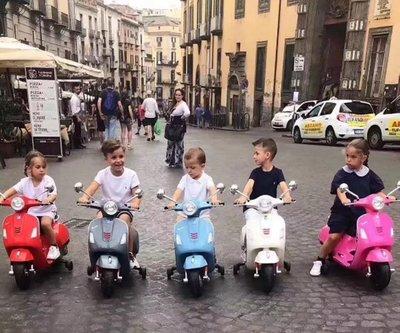 Vespa946維斯帕原廠正品兒童電動車充電童車摩托車玩具禮物男女童兒童遙控玩具