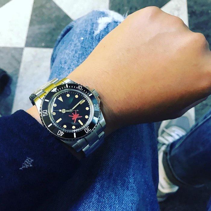 【六樓先生】40mm  submariner 中東面盤 復古圓頂鏡面 70年代風格 機械錶