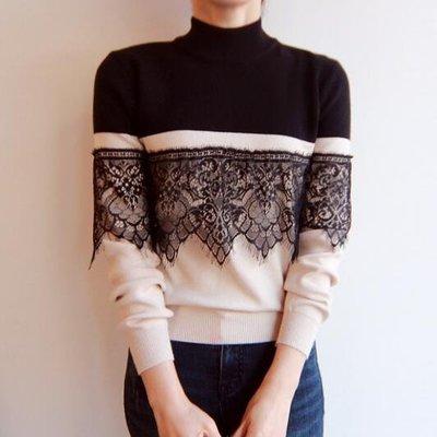 BOSHOW韓國連線 特價 正韓 蕾絲花邊裝飾半高領拼色針織毛衣